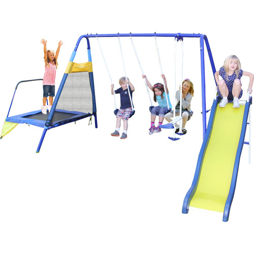 Sportspower Almansor Metal Trampoline/Slide and Swing Set