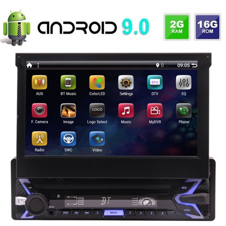 In-Dash Headunit Car Stereo 1-DIN Android 9.0 Audio Radio Receiver with 7 inch Touchscreen Support 1080P Mirror Link Online&Offline Navi WiFi Bluetooth USB TF+Backup Camera