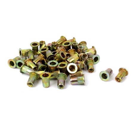 Unique Bargains M4x11mm Zinc Plated Flat Head Blind Rivet Nuts Insert Nutserts 50pcs ()