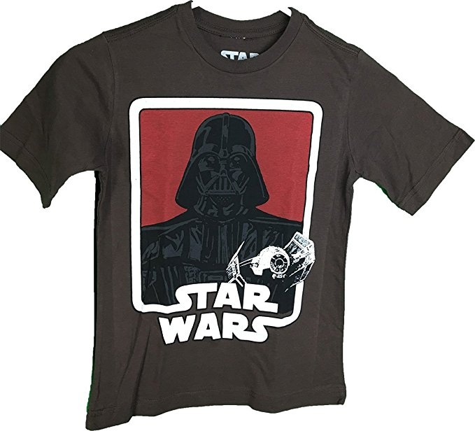Star Wars Darth Vader Tie Fighter Graphic Youth Brown T-Shirt (Large 14/16)