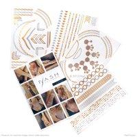 Flash Tattoos, Metallic Gold/ Silver/ Black Tattoo Pack