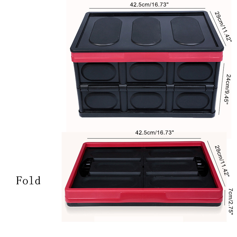 Attirant ZeAofa30L Collapsible Plastic Storage Box Durable Stackable Folding Utility  Crates With Lid Black Color   Walmart.com