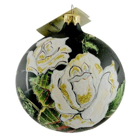 - Christina's World ROSES OF THE NIGHT Blown Glass Orenament Ball Flower FLO 619