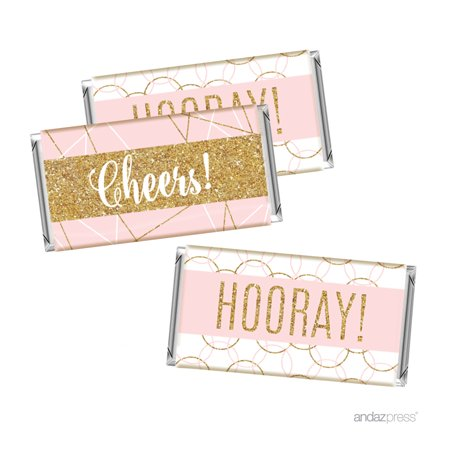 - Signature Blush Pink, White, Gold Glittering Party Collection, Hershey's Bar Labels Stickers, Cheers! Hooray!, 10-Pack