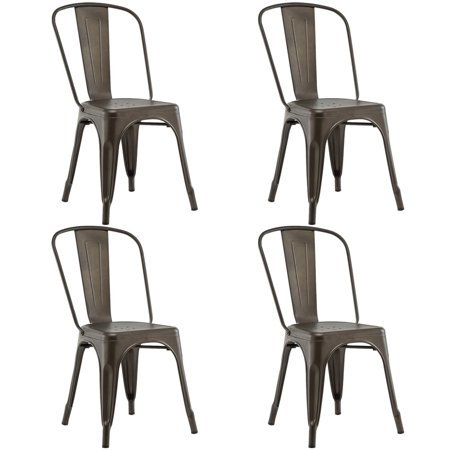 (Costway Set of 4 Dining Side Chair Stackable Bistro Cafe Metal Stool Vintage)