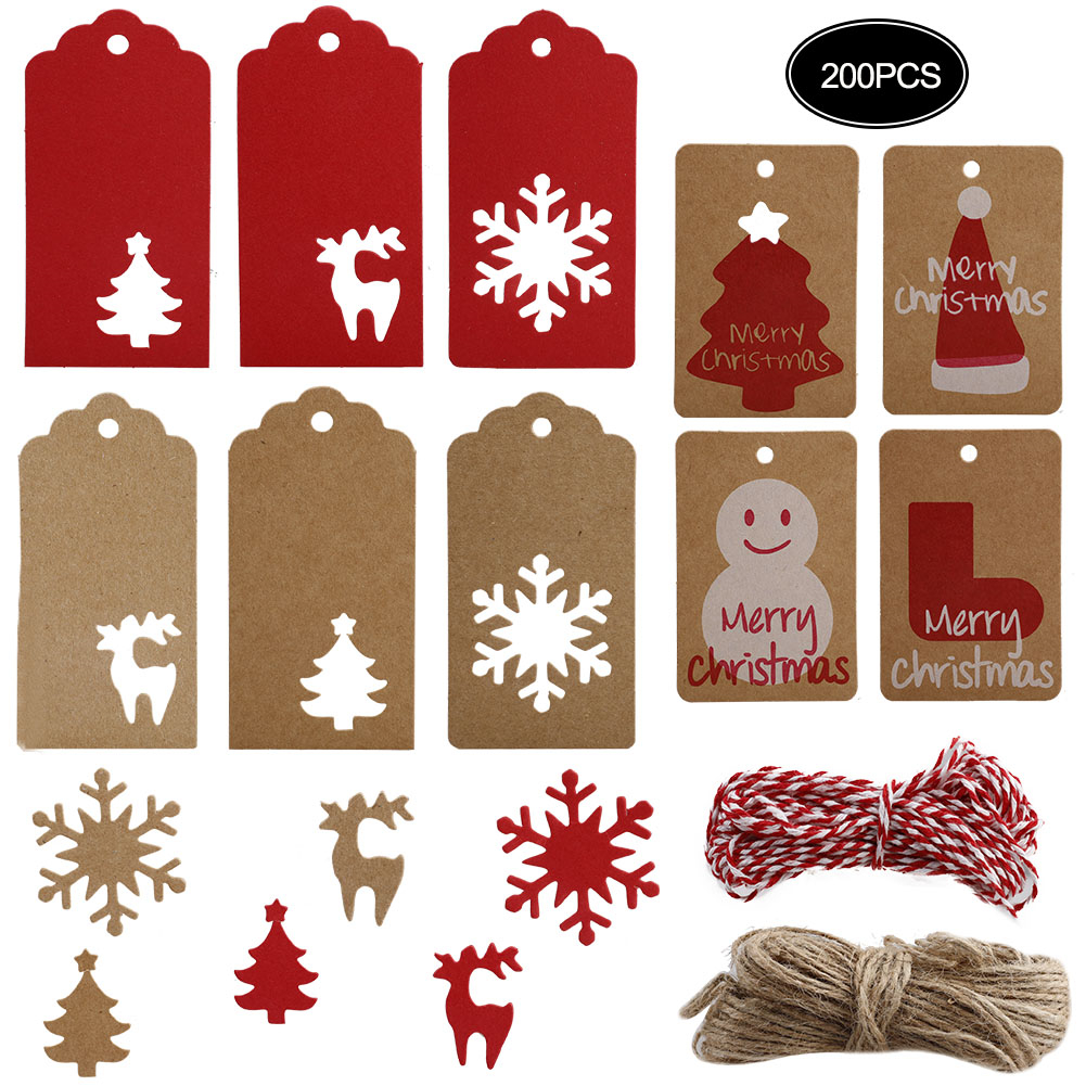 BULK 96 Pack Retro Style Christmas Gift Tags Cards with Metallic Thread