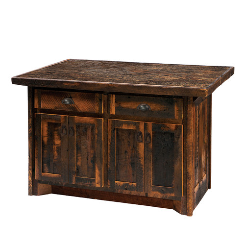 Fireside Lodge Reclaimed Barnwood Kitchen Island