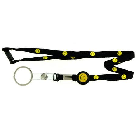 Smiley Face Lanyard (Adjustable Black Lanyard Yellow Smiley Faces & Silver-Tone Split-Ring Key Chain )