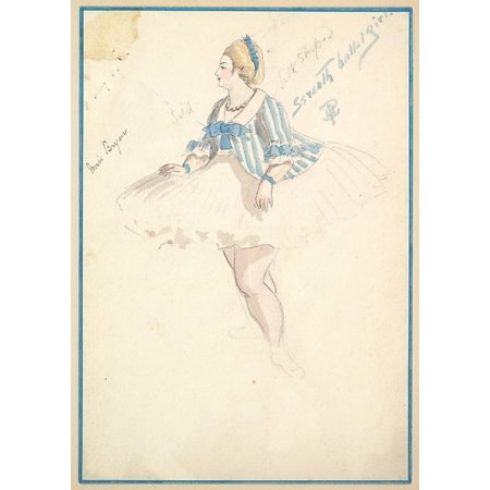 """Seventy Costumes (Costume Design for Seventh Ballet Girl (Short White and Blue Striped Dress) Poster Print by Percy Anderson (British 185051  """"1928 London) (18 x)"""