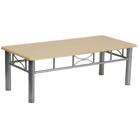 Laminate Coffee Table - Natural Laminate Coffee Table with Silver Steel Frame