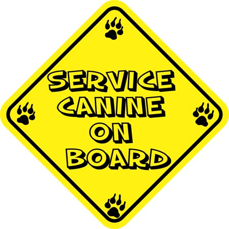 5in x 5in Service Canine On Board Magnet Vinyl Vehicle Dog Caution Magnets