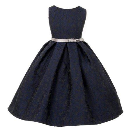 Little Girls Navy Silver Floral Jacquard Occasion Dress 4](Girls 4 Sale)