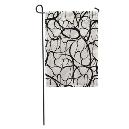 LADDKE Pattern Modern Endless Abstract Graphic Black Beauty Mod Spot Drawing Garden Flag Decorative Flag House Banner 28x40