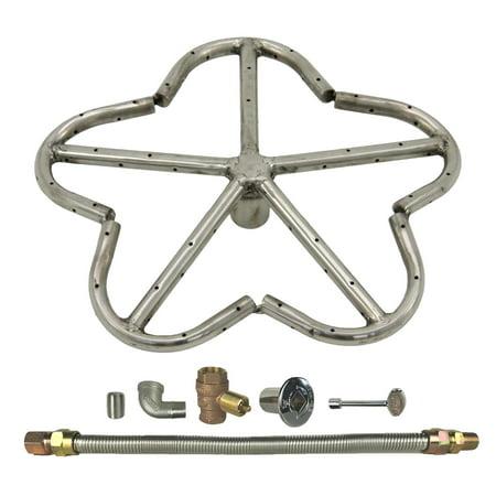 "Spotix HPC Penta Fire Pit Burner Kit, 12"", Match Light, Natural Gas"