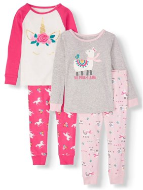 Wonder Nation Long Sleeve Cotton Tight Fit Pajamas, 4pc Set (Toddler Girls)