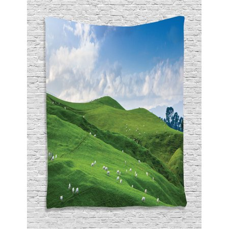 Sheep Tapestry - Farm House Decor Wall Hanging Tapestry, Sheep Under Blue Sky Trees Grassland Highland Nature Landscape Scenery Picture, Bedroom Living Room Dorm Accessories, By Ambesonne