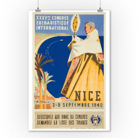 Congres Eucharistique - Nice Vintage Poster (artist: Senechal) France c. 1938 (9x12 Art Print, Wall Decor Travel Poster)