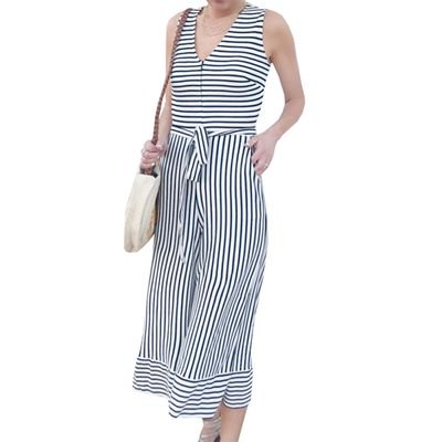 SHOPFIVE Summer Women's Fashion Trend Striped Vest Sleeveless Off-the-shoulder Knotted Strap Zip Sweater