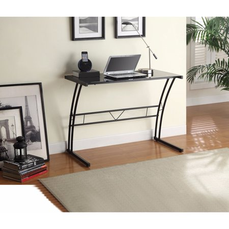 stylish metal writing desk with tempered glass top black. Black Bedroom Furniture Sets. Home Design Ideas