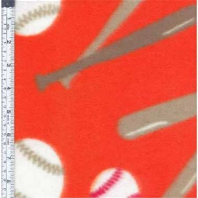 Textile Creations MFP-306-20 Sport Fleece, Baseballs Red