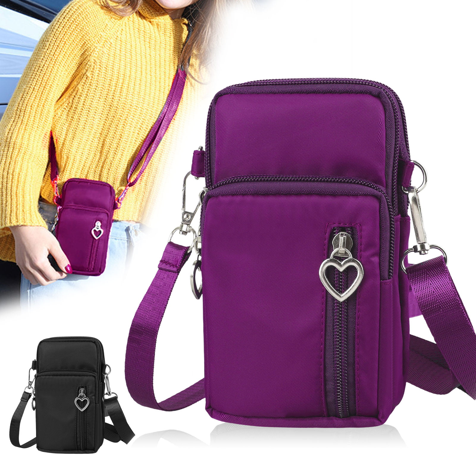 Small Women Nylon Crossbody Cell Phone Purse Trave Shoulder Bags w 4 Zip Pockets