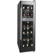 Sunpentown 18-Bottle Dual-Zone ThermoElectric Wine Cooler with Heating, Black