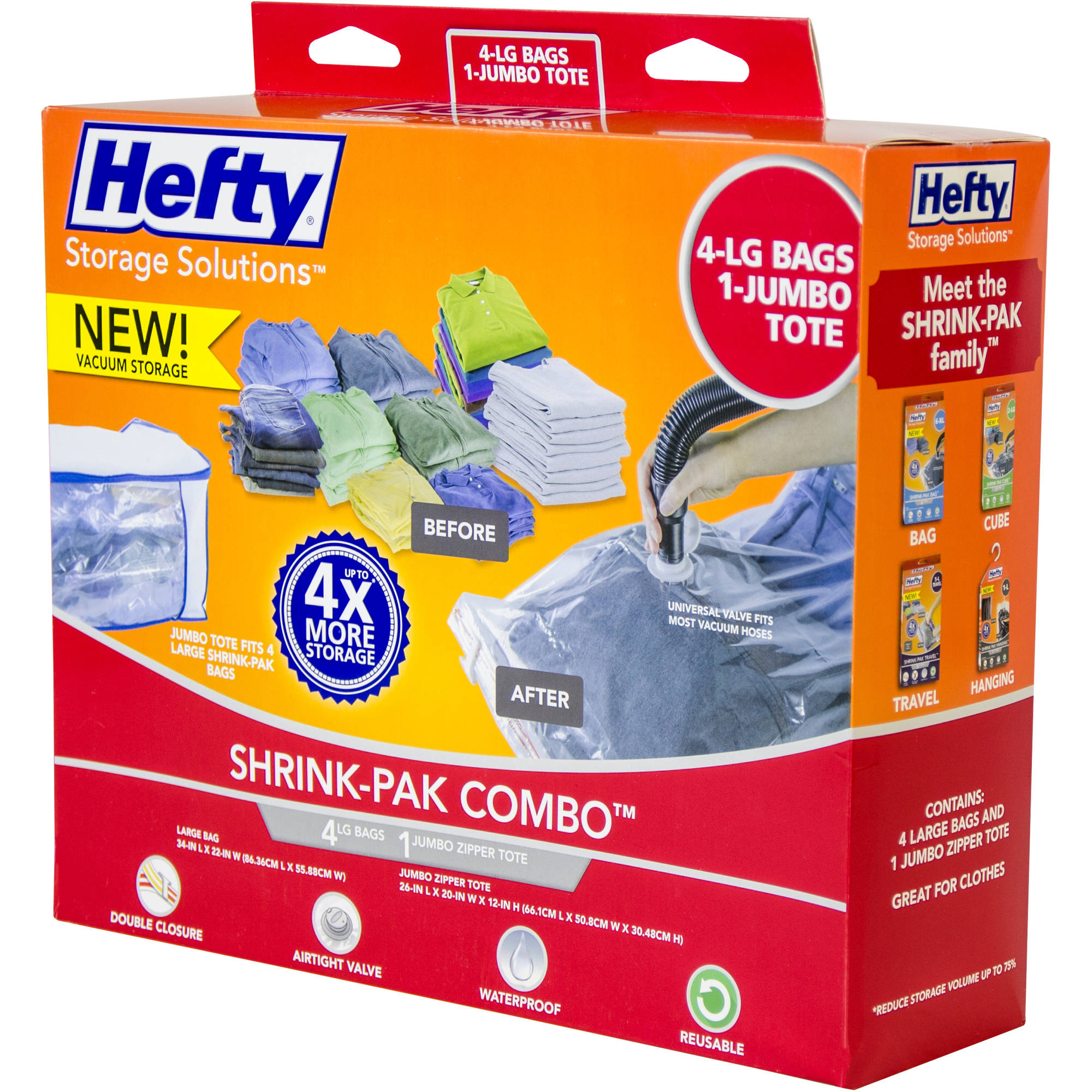Hefty Shrink-Pak Vacuum Seal Bags, 4 Large Bags and 1 Jumbo Zipper Tote