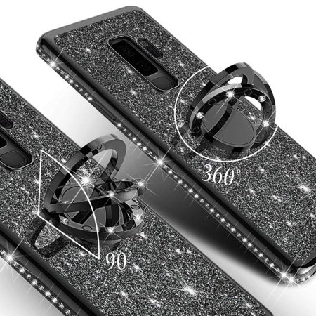Galaxy S9 Case, Cute Glitter Ring Stand Phone Case with Kickstand, Bling Diamond Rhinestone Bumper Ring Stand Sparkly Luxury Clear Thin Soft Protective Samsung Galaxy S9 Case for Girls Women - Black - image 3 of 6