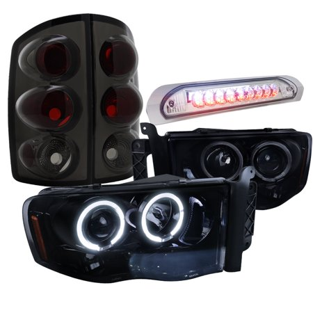 Spec D Tuning 2002 2005 Dodge Ram Glossy Black Halo Pro Headlight Smoke Tail Lamp Led 3rd Brake 2003 2004