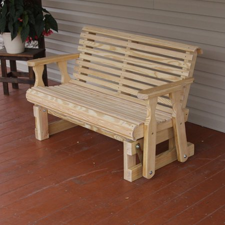 Amish Heavy Duty 800 Lb Roll Back Pressure Treated Porch Glider (4 Foot, Unfinished) ()