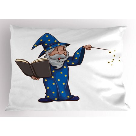 Wizard Pillow Sham, Sorcerer Man in a Blue Costume with Yellow Stars Casting a Spell from a Magic Book, Decorative Standard Queen Size Printed Pillowcase, 30 X 20 Inches, Multicolor, by Ambesonne