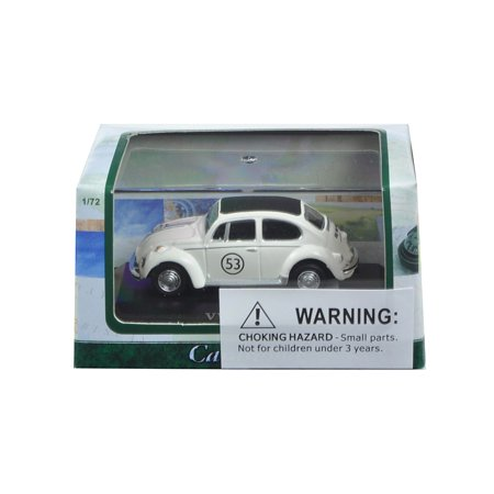 Diecast Car Wall Display Case (Volkswagen Beetle #53 White in Display Case 1/72 Diecast Model Car by)