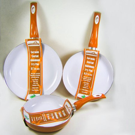 3 Non Stick Ceramic Coated Fry Pan Set Eco Orange Healthy Cookware 8