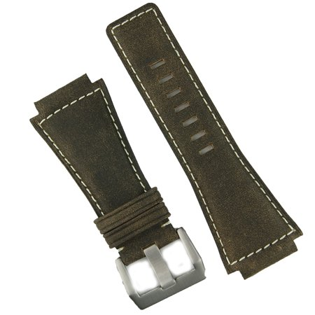 Brown Bomber White Stitch Bell & Ross BR01 BR03 Replacement Leather Watch Band