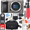 Sony Alpha a6000 24.3MP Grey Interchangeable Lens Camera Body + 64GB Class 10 UHS-1 SDXC Memory Card + NP-FW50 Battery Pack + Accessory Bundle