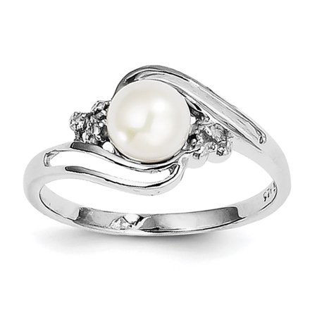 Sterling Silver Rhodium 6Mm Fw Cultured Button Pearl   Diamond Ring