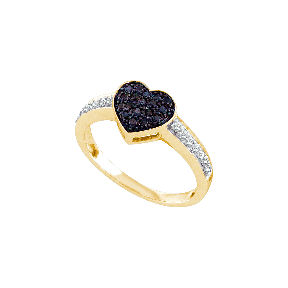 10k Yellow Gold Womens Black Colored Round Diamond Heart Cluster Ring (.33 cttw.)