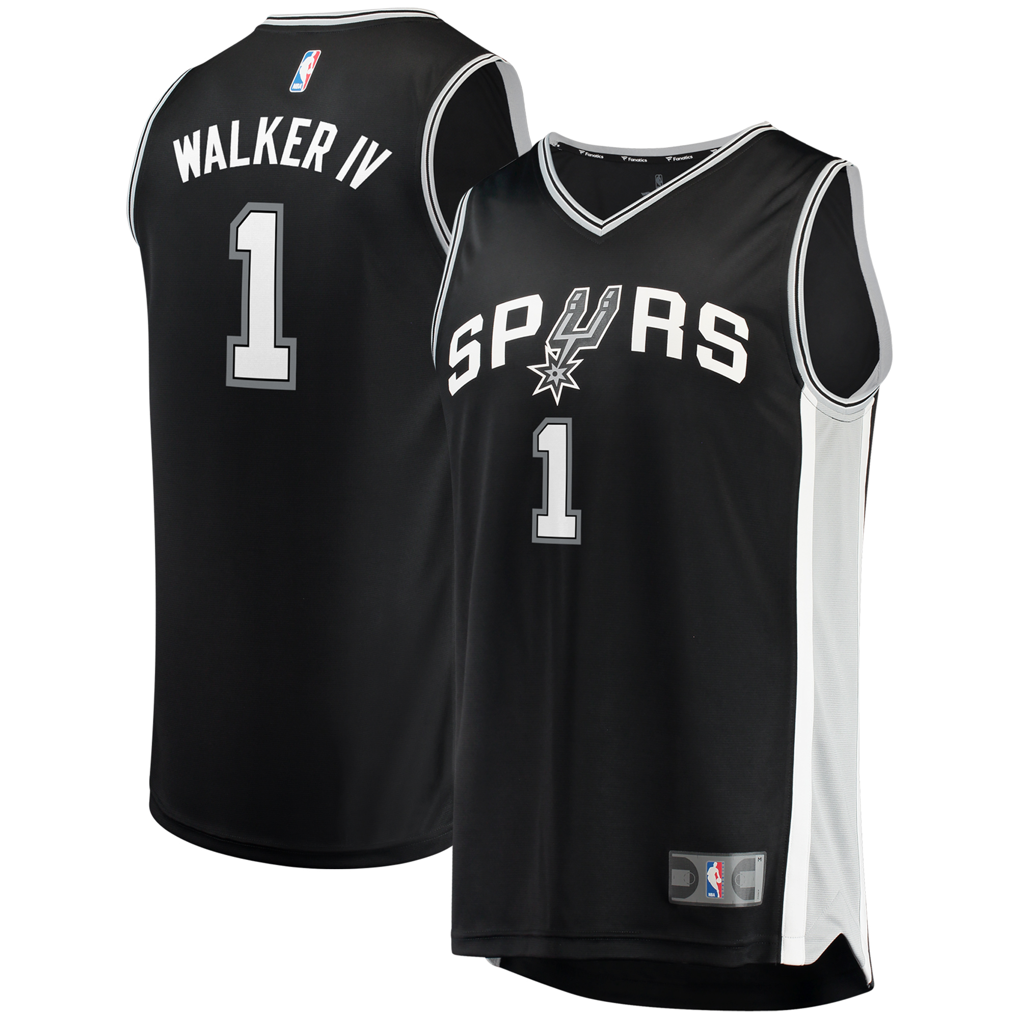Lonnie Walker San Antonio Spurs Fanatics Branded Fast Break Replica Jersey - Icon Edition - Black