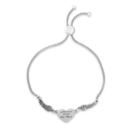 Bliss Women's Polished Heart and Wing Station Adjustable Slider Bracelet in Oxidized Sterling Silver ()