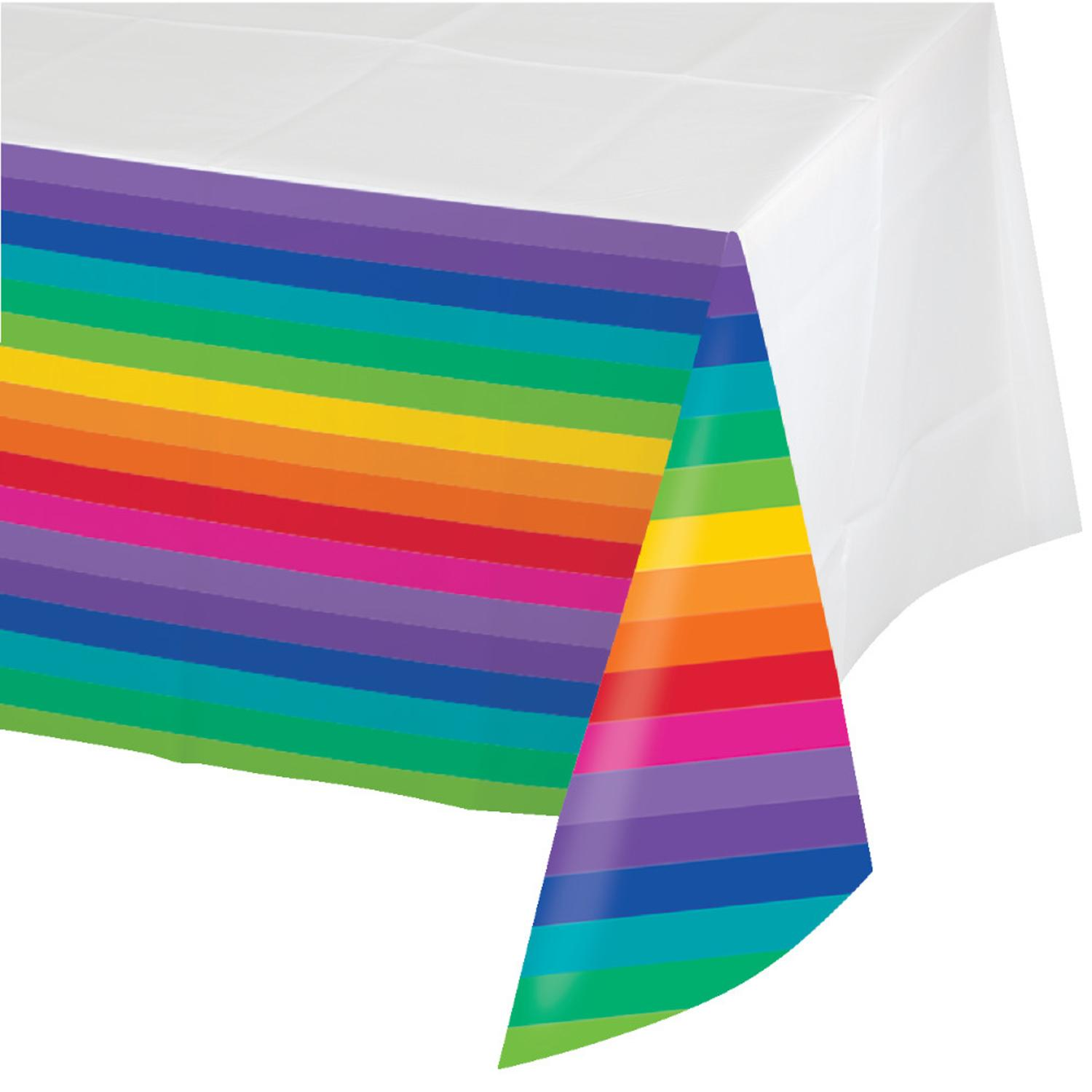"""Pack of 6 Rainbow Disposable Rectangle Plastic Banquet Party Table Covers 102"""""""