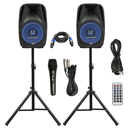 pair alphasonik all in one 15 powered 2500w pro dj amplified loud speakers with bluetooth usb. Black Bedroom Furniture Sets. Home Design Ideas