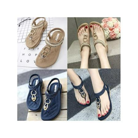ef4ffa7d7df2f5 Women Summer Bohemia Slippers Flip Flops Flat Sandals Beach Thong Shoes -  Walmart.com