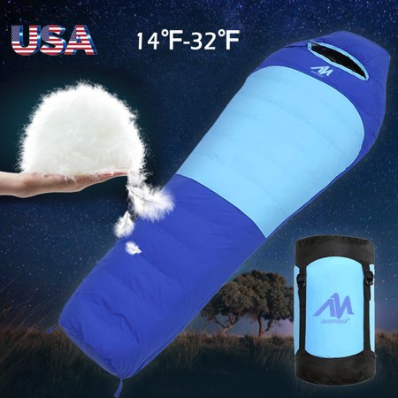 Duck Down Feather Mummy Sleeping Bag,iClover Winter Mummy Type Thermal Warm Adult for Outdoor Camping Adventure Family Home Warming Sleeping - Sleeping Duck