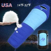Duck Down Feather Mummy Sleeping Bag,iClover Winter Mummy Type Thermal Warm Adult for Outdoor Camping Adventure Family Home Warming Sleeping Bag