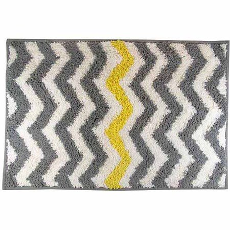 Mainstays Chevron Bath Rug Yellow Walmartcom - Gray bathroom rug sets for bathroom decor ideas