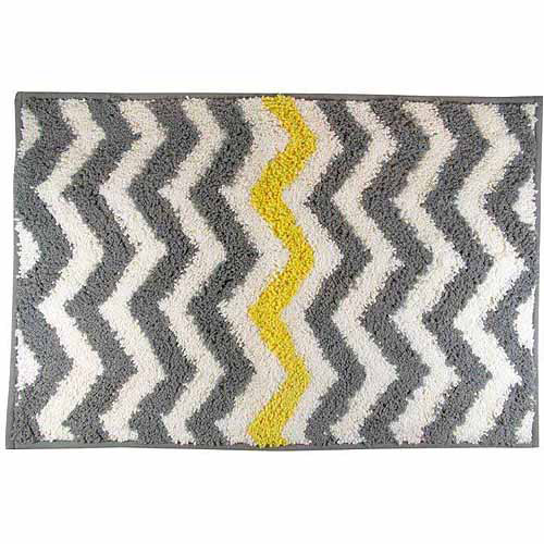 Mainstays Chevron Bath Rug, Yellow