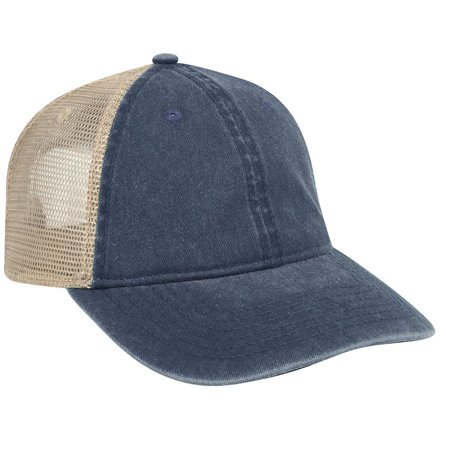 OTTO Washed Pigment Dyed Cotton Twill Low Profile Style Soft Mesh Back Caps-040432 -