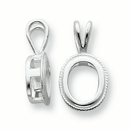 Sterling Silver Oval 5 x 3mm Rope Frame Back Set Fixed Bail Pendant ...