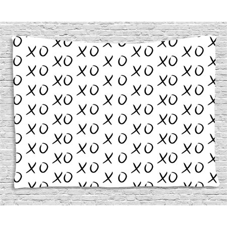 Xo Decor Tapestry Hugs And Kisses Pattern Love You Symbol Affection