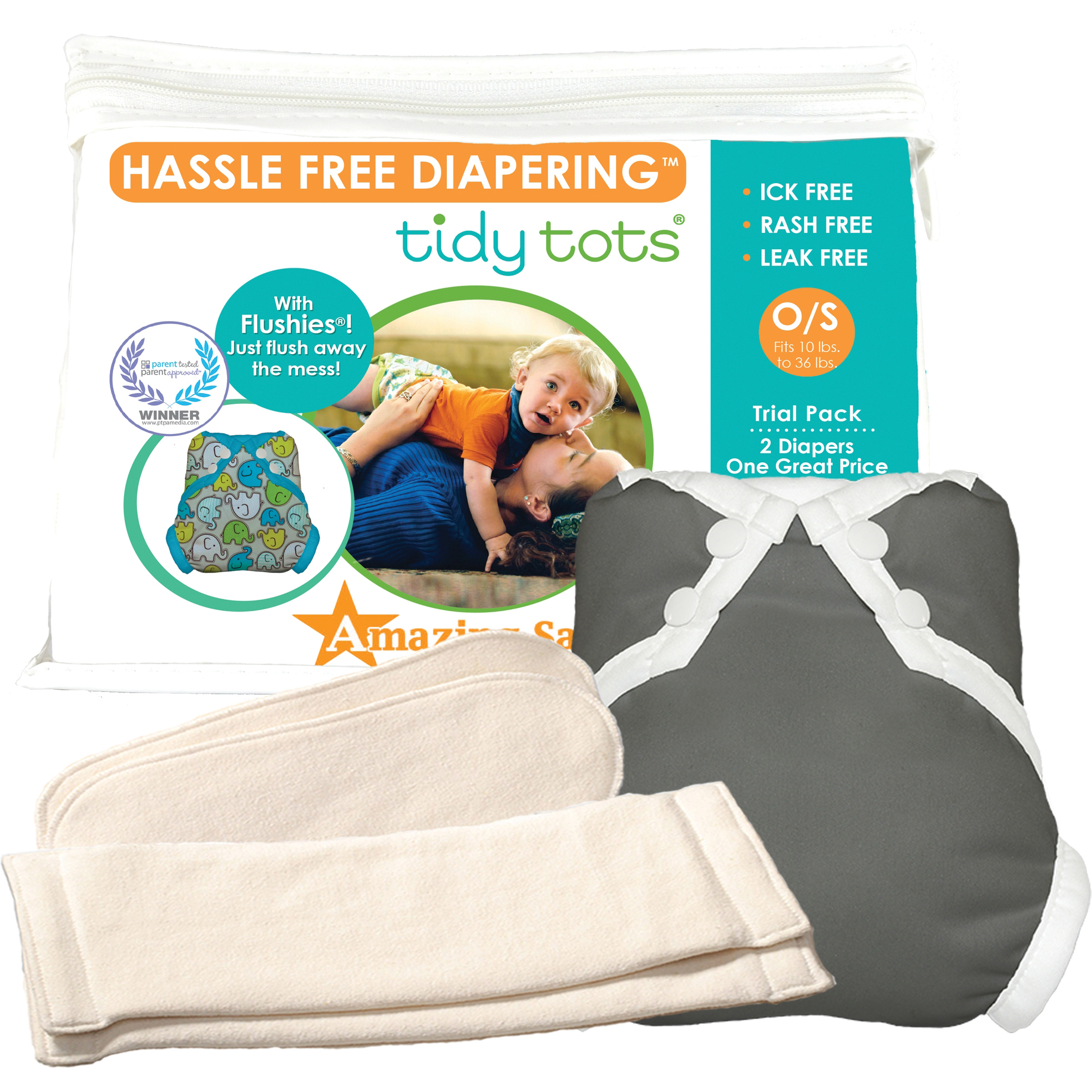 Tidy Tots Hassle Free 2 Diaper Trial Set with Grey Cover